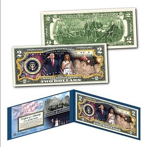 Donald/Melania July 4 Mount Rushmore $2 Bill
